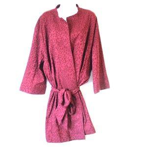 Natori Burgundy Animal Print Robe Short NWT